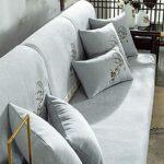 Protection Pour Meubles Haute Marron pour coussins individuels, housse de canapé-serviette de canapé de broderie Chenille, housse de siège pour serviette de canapé d'angle de salon 28*35 inch