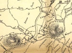 Plano donde se observa el Llano del Pavo entre la montaña de la Arena y la actual Casa Azul.
