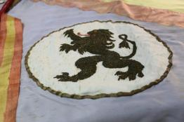 León bordado por Isabel Hernández Herrera.