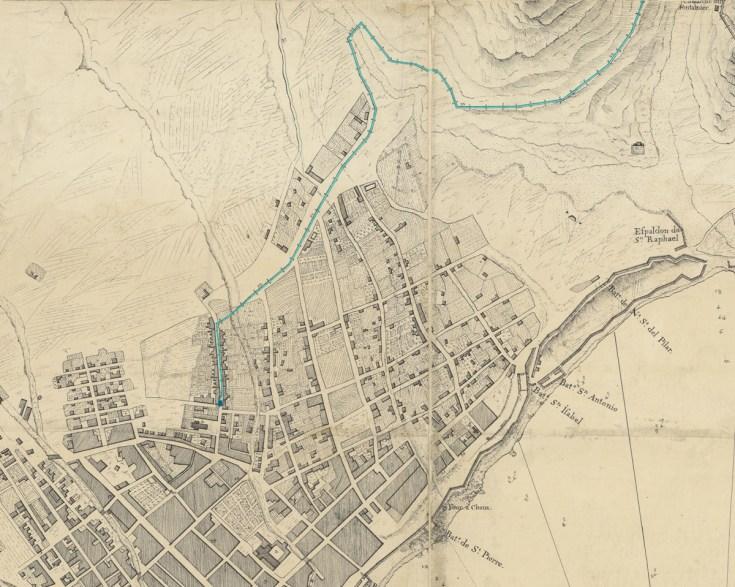 Detalle de un plano de Santa Cruz de Le Chevalier, en el que se puede ver la canalización de madera que conducía agua hasta la fuente del Chorro en la actual calle del Pilar.