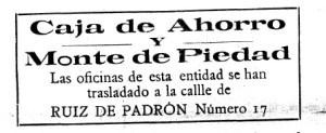 Agosto de 1926. Las oficinas se trasladan a Ruíz de Padrón
