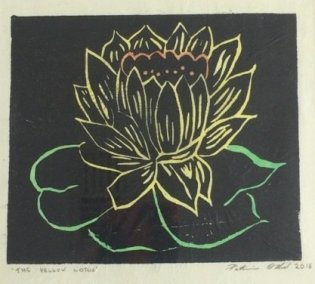 Patricia O'Neil, The Yellow Lotus, linocut and watercolour