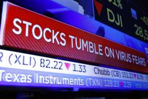 Stocks tumble due to virus