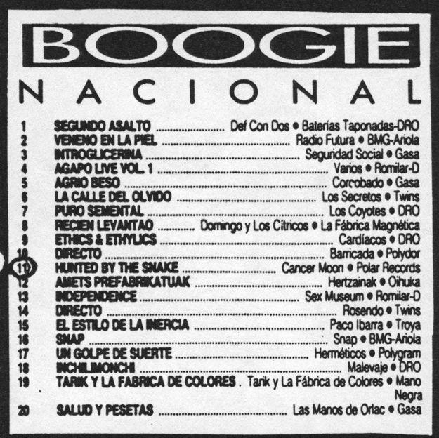 Cancer Moon en el listado de Boogie (abril 1990)