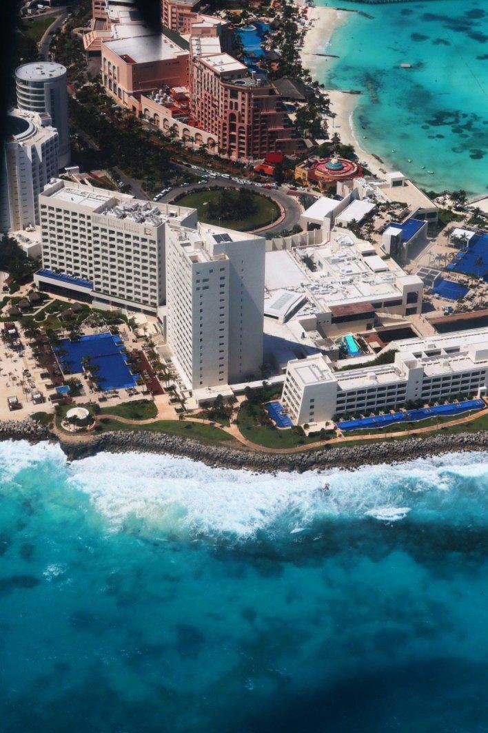 Foto aérea de la Zona Hotelera de Cancún