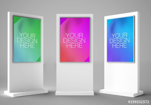 3 interactive kiosks mockup buy this stock template and explore