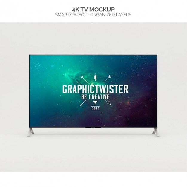4k television mock up psd file free download