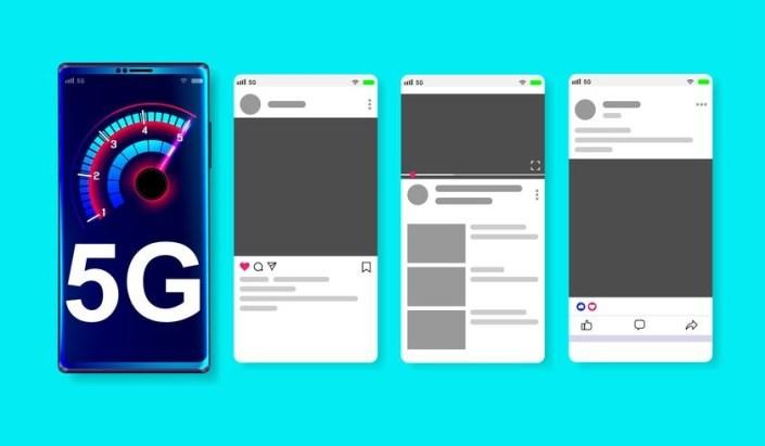5g high speed network on online social media mockup on blue