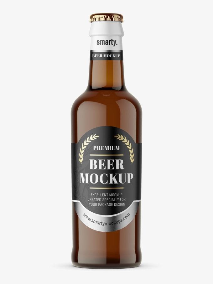 amber beer bottle mockup smarty mockups