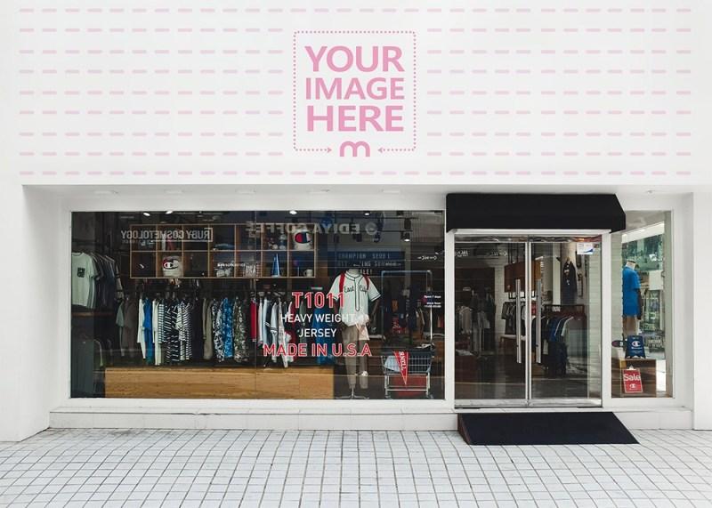 apparel store logo sign mockup generator mediamodifier