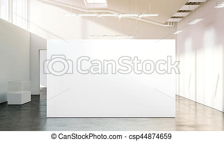 blank white wall mockup in sunny modern empty gallery 3d rendering