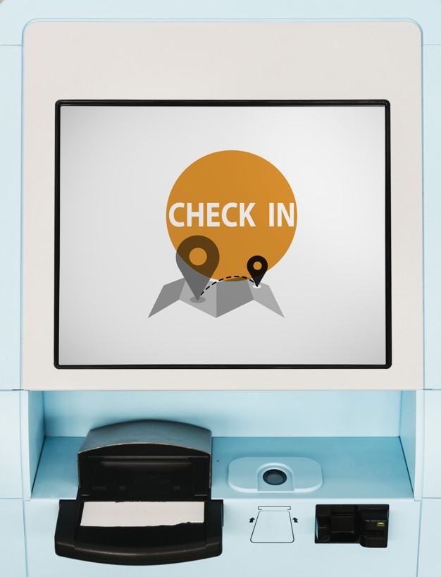 blue flight check in kiosk screen mockup psd file free download