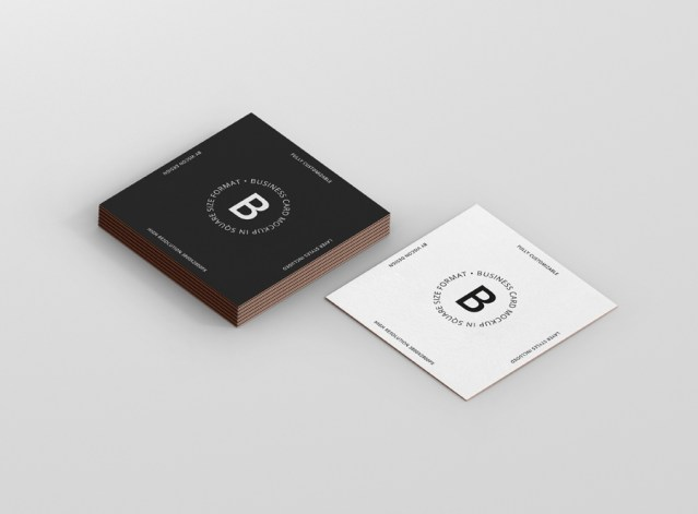 business card mockup square format premium and free mockups