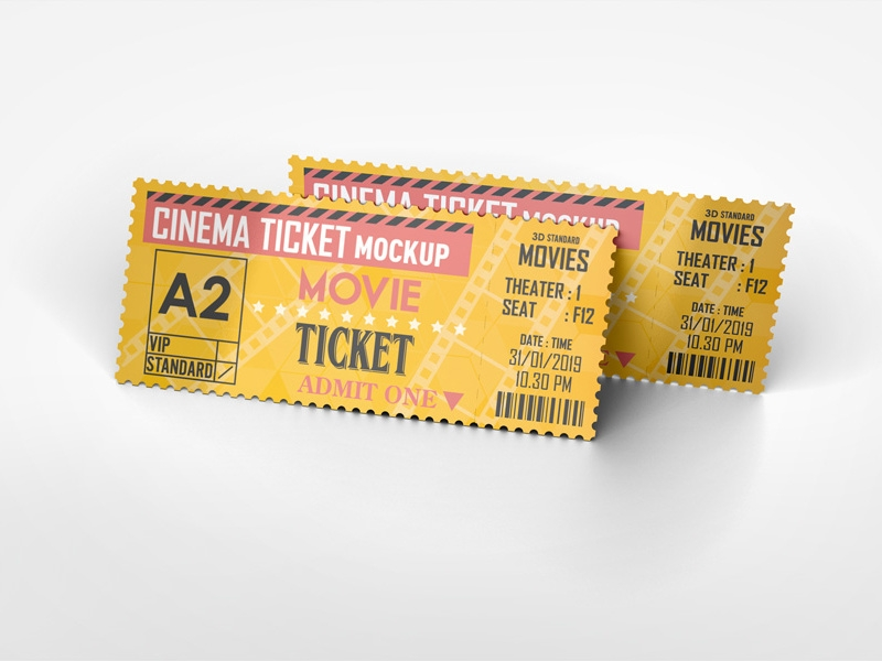 cinema ticket mockup idesignstudio on dribbble