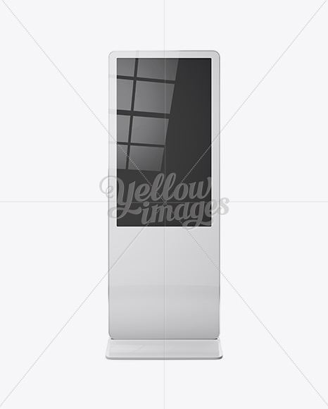 digital lcd display mockup front view in indoor advertising