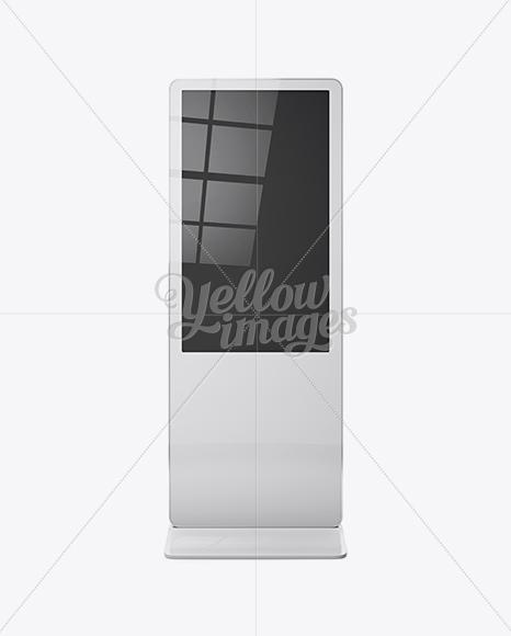 digital lcd display mockup front view in indoor advertising