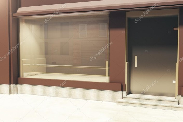empty clean storefront in daylight side view mock up 3d rendering