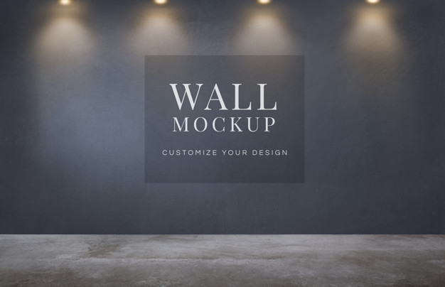 empty room with a dark gray wall mockup psd file free download