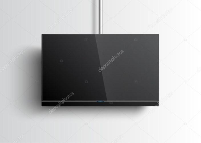 flat smart tv mockup with blank screen hanging on the tube soundbar