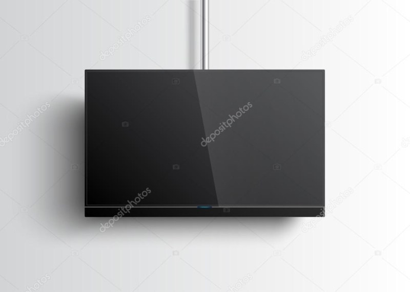 flat smart tv mockup with blank screen hanging on the tube soundbar