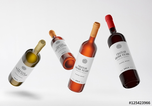 four wine bottles mockup buy this stock template and explore