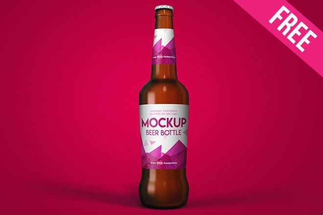 free beer bottle mock up in psd free psd templates