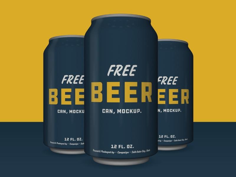 free beer can mockup psd psdblast