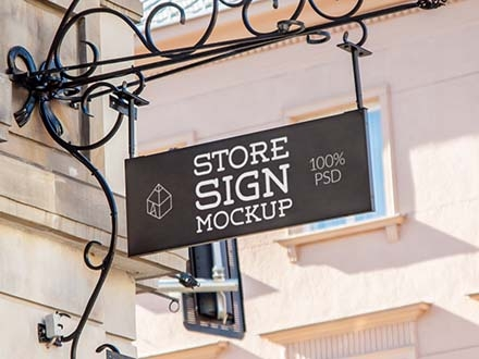 free rectangle store sign mockup psd