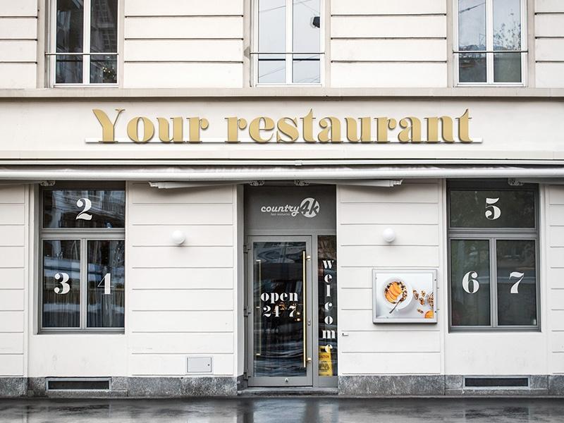 free restaurant facade psd mockup in 4k country4k on dribbble