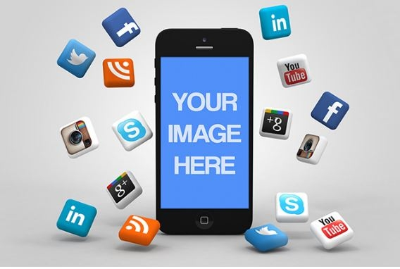 iphone with 3d social media icons mockup template sharetemplates