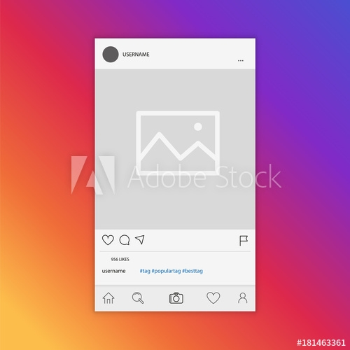 mockup of social network photo frame inspired social media