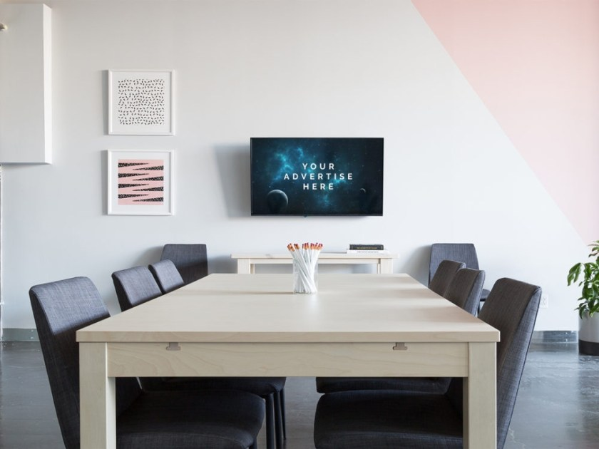 office room tv mockup mockupblast