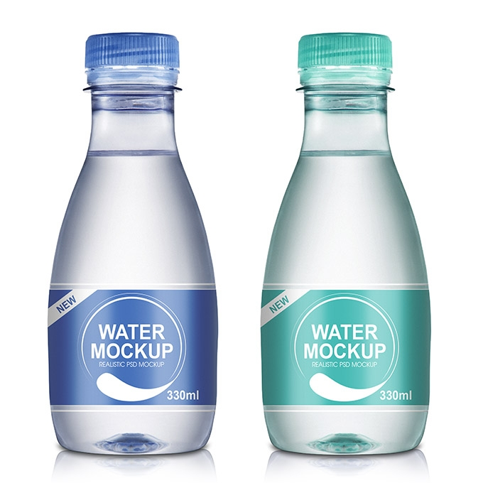 packreate 330ml mineral water bottle psd mockup