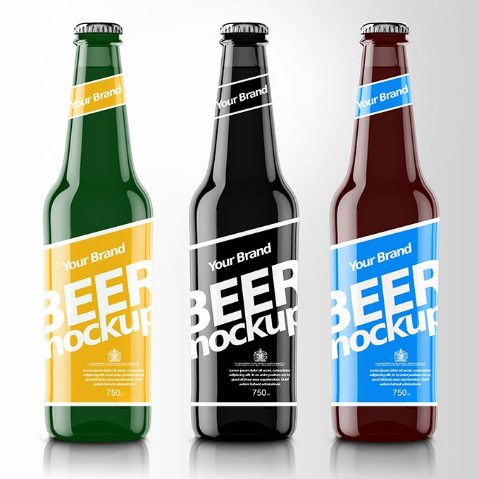 packreate modern beer bottle psd mockup