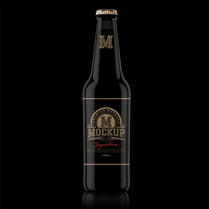 packreate premium black beer bottle psd mockup