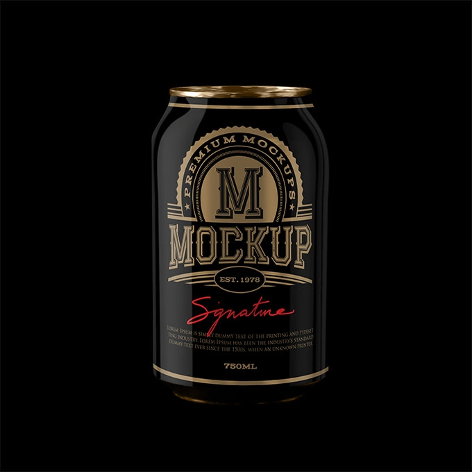 packreate premium black beer can psd mockup