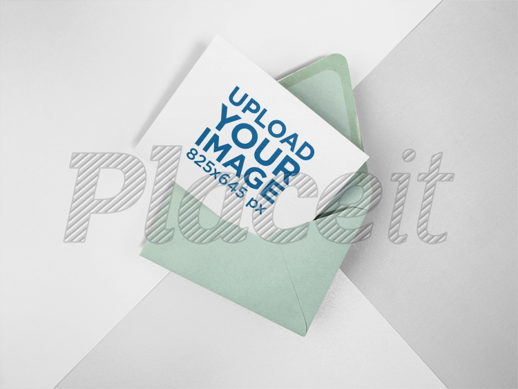 placeit invitation on an envelope mockup lying on a three colors