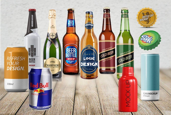 put labellogo on 3d alcohol bottle mockups like beer wineenergy