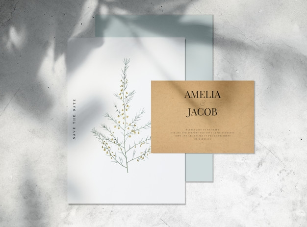 save the date wedding invitation card mockup psd file free download