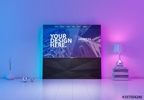 smart tv mockup with purple and blue lighting elements buy this