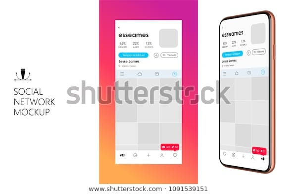 social media mockup design mobile app stock vector royalty free