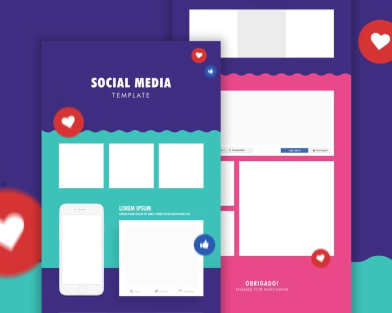 social media template psd download mockup