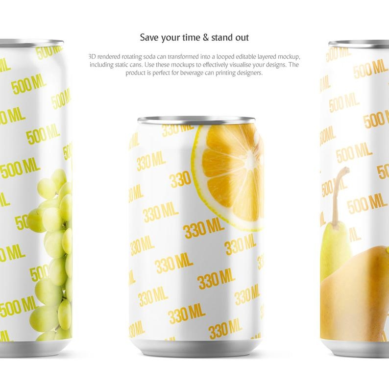 soda can animated mockup beer can mockup sleeve can coolers etsy