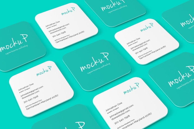 square round corner business card mockup psd file premium download
