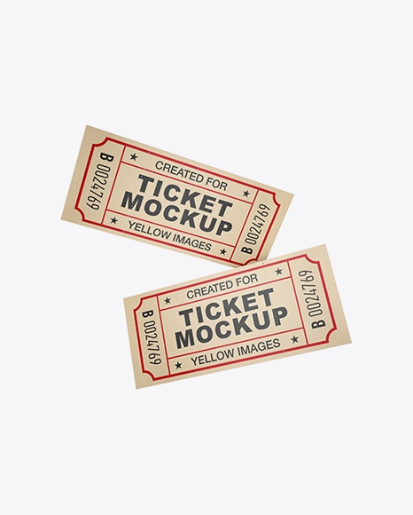 two textured paper tickets mockup in object mockups on yellow images