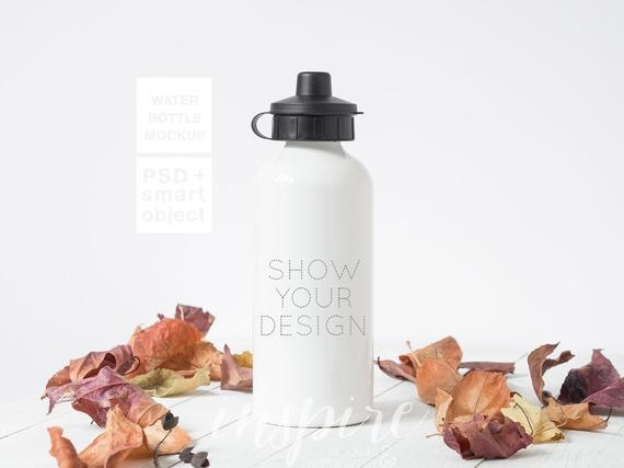 water bottle mockup psd smart object fall styled stock etsy