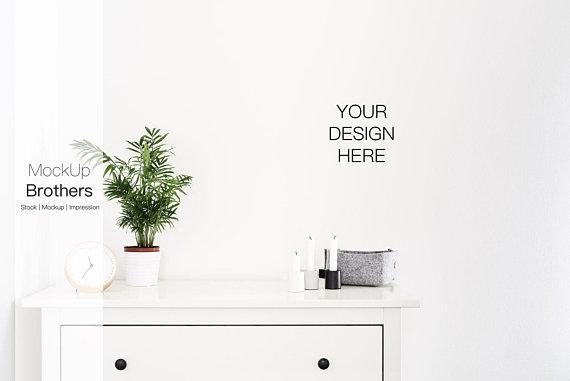 white empty wall mockup frameless bedroom mock up wall real photo