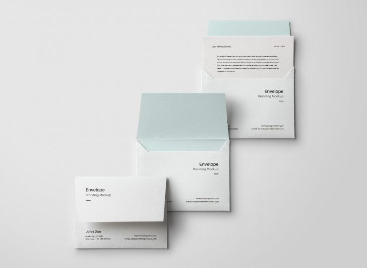 3 minimal envelope mockups mockup templates