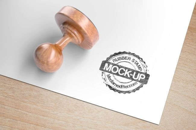 3d mockup generator template with a round wooden stamp on the corner