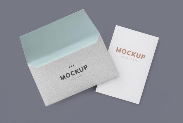 card and envelope mockup psd file free download